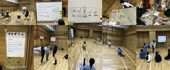 体育館で対話しスポーツをつくる子供たち