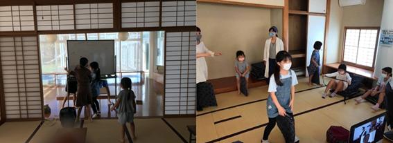 畳の部屋で対話し体を動かす子供たち